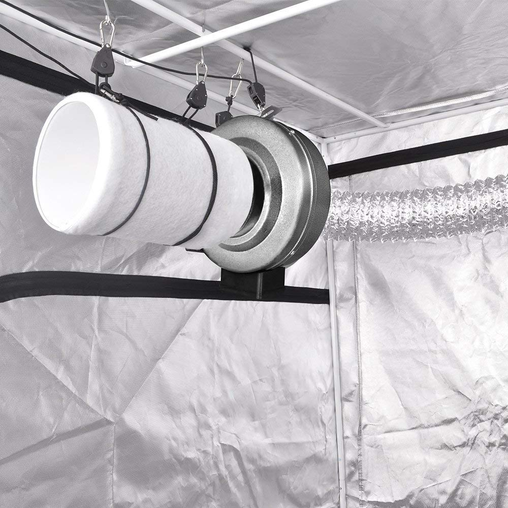 Ventilation, fan, and filter for grow tent