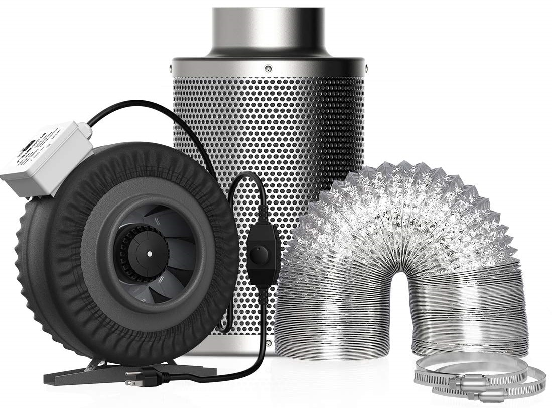 VIVOHOME 6″ Inline Duct Fan, Air Carbon Filter with Odor Control Scrubber, and Flexible Aluminum Vent Hose